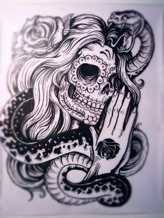 Really detailed women skull with cobra