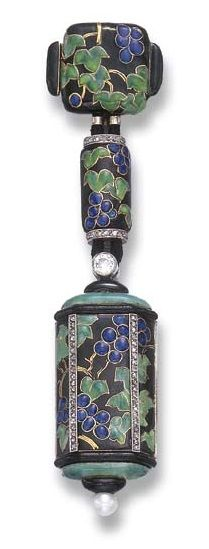 AN ENAMEL, DIAMOND AND PEARL LAPEL WATCH, BY LACLOCHE FRERES. Mounted in 18k gold, circa 1925.