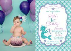 ON SALE Baby Mermaid Birthday Invitation, Mermaid Party Invite Under the sea mermaid glitter first birthday 1st birthday photo by SLDESIGNTEAM on Etsy https://www.etsy.com/listing/475619543/on-sale-baby-mermaid-birthday-invitation