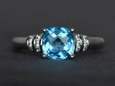 Cushion blue topaz ring solitaire love ring engagement ring 925 sterling silver #Affinity Gemstone Engagement Rings, Solitaire Engagement, Gemstone Rings, Blue Topaz Ring, Blue Sapphire Rings, Sterling Silver Wedding Rings, Cushion Cut Engagement Ring, Blue Rings, Blue Gemstones