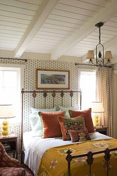 mix of pattern--dream cottage bedroom by Kathryn Ireland