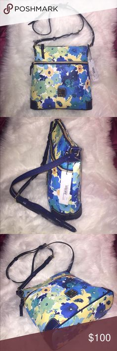 💞👜 Dooney & Bourke somerset cross-body bag👜💞 BEST OFFER!👍👜Brand New. Fully function. Top zip closure. Inside has multiple pockets. One zipped pocket, three slide pockets and one key hook. Outer front full zipped pocket. Adjustable strap. Metal gold plated hardware. DB customer care card. Material: Body 100% PVC water repeller, trim and strap 100% leather. Lining 100% cotton. Easy to clean. Very useful for daily on go errand. Light weight. Lined. Check out my closet for more brand new…