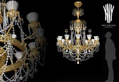 Contemporary Crystal Chandeliers K 5014 Luxury Lighting Style by Kny Design Austria with Decorative Glass Vases and Golden Ornaments, Swarovski Elements and 24ct. Gold Plated - www.kny-design.com Luxury Lighting, Fashion Lighting, Lighting Design, Crystal Chandeliers, Decorative Glass, Contemporary Chandelier, Lighting Solutions, Austria, Vases