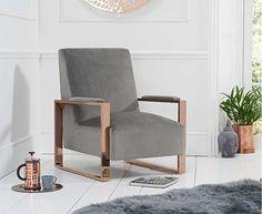 Etta Grey Velvet Accent Chair with plush Grey Velvet upholstery, a minimal design and rose gold chrome frame Armchair, Grey Upholstery, Fabric Armchairs, Grey Velvet, Velvet Accent Chair, Accent Chairs, Velvet Accents, Canora Grey, Blue Velvet Accent Chair