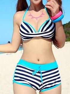 Stylish Halter Striped Two-Piece SwimsuitWomen's Cutest Retro Swimsuit Swimwear Vintage Pin Up High Waist Bikini SetNew Women's Sexy 3 Pieces Bikini Swimsuit Set Padded Bathing Suit BlueSwimwear For Women - Best Sexy Beach Bathing Suits, Black Swimsu Vintage Swimsuits, Cute Swimsuits, Two Piece Swimsuits, Women Swimsuits, Swimwear Fashion, Bikini Swimwear, Sexy Bikini, Bikini Sets, Bikini Mode