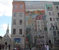 A vast mural, La Fresque des Quebecois, in Rue Notre Dame, Quebec Old Town. Old Quebec, Quebec City, Chateau Frontenac, Canada Pictures, Le Petit Champlain, Building Art, Happy Art, Vacation Spots, Wonders Of The World