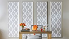 Framed wallpaper decorative panels applied to wall.