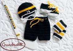 BABY HOCKEY CROCHET, Hockey Helmet Hat Pants Socks Knit Skates, Boston Bruins paci not included, Baby Hockey Black Gold, Baby Hockey Skates by Grandmabilt on Etsy