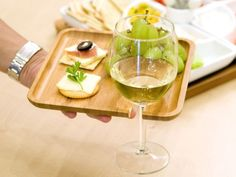 Bamboo Appetizer Tray with Wine Glass Stem Holder.