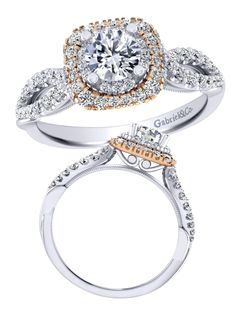 Gabriel & Co. - Would you say yes to this stunning 14k White and Rose Gold Diamond Engagement Ring?