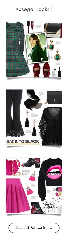 """Rosegal Looks I"" by mahafromkailash ❤ liked on Polyvore featuring Betsey Johnson, Juicy Couture, Avenue, Gucci, Bobbi Brown Cosmetics, Christian Dior, Hedi Slimane, Pat McGrath, Stella & Dot and Anja"