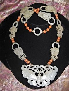 Chinese antique White Jade/Nephrite & Coral Butterfly Necklace