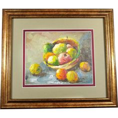 Oil on Canvas German Painting Still Life Fruits Framed Circa