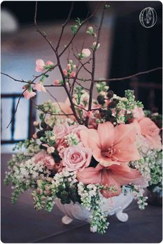 Holly-Hedge-Estate-Spring-Vintage-Peach-Coral-Amaryllis-Berry-Quince-Branch-Milk-Glass-Centerpiece-Oleander-New-Jersey-Bucks-County-Wedding-Florist-Floral-Design #woodlandweddings #woodlandweddingideas #elegantwoodlandweddings