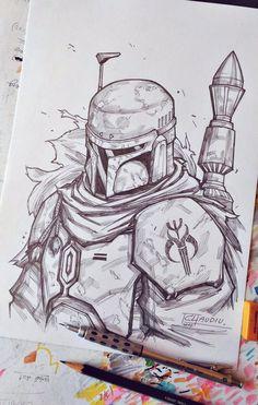 Boba Fett Sketch by LC-creations.deviantart.com on @DeviantArt