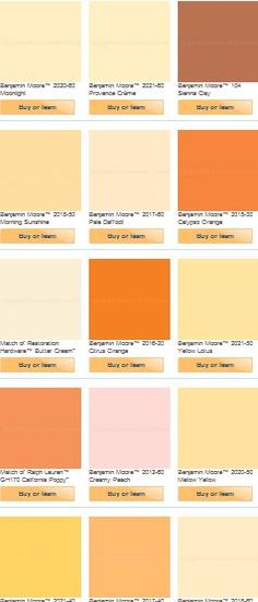 Orange paint colors (more possibilities for the master bedroom).