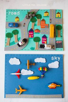 2014. make + take: road or sky.  materials: foam mats, felt, tacky glue, needle, scissors, embroidery thread, vehicle figurines
