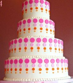 Jungle Safari Baby Shower / Birthday -- Pink & Orange (or Blue & Green) Dot Cake Idea Polka Dot Birthday, Birthday Cake Girls, Birthday Cakes, Pretty Cakes, Beautiful Cakes, Amazing Cakes, Fondant Cakes, Cupcake Cakes, Polka Dot Cakes