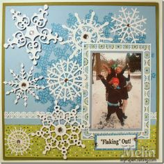 Snowflake Die Cuts Winter Scrapbook Layout Idea and Challenge at SOUS. Snowflakes from PaperCraftingWorld.com. Details: http://www.mypapercrafting.com/2013/12/DCWV-White-Ginger-Stack-Snowflake-Winter-Layout-Idea.html