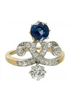 30 coloured stone engagement rings Art Nouveau Sapphire & Diamond Ring, £2,500, The Antique Jewellery Company