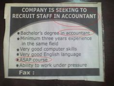Funny Wanted Ad - Accountant Staff Newspaper Funnies, Newspaper Jobs, Office Humour, Funny Jobs, Wanted Ads, Under Pressure, English Language, Accounting, Humor