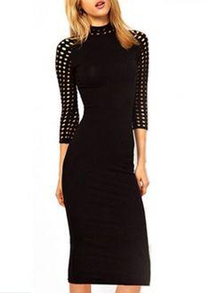 Keyhole Design Mandarin Collar High Waist Dress Wholesale Dresses