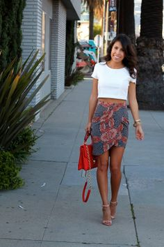crop top skirt outfit