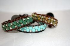 Turquoise blue faceted czech glass beaded wrap - alternating weave pattern bracelet - leather wrap. $25.00, via Etsy.