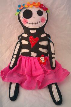 EVELYN Dias de Los Muertos Day of the Dead Plush art doll Skelly Sister. $75.00, via Etsy.