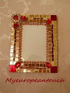 Mirror Glass Mosaic Frame, Jeweled Picture Frame Handcrafted