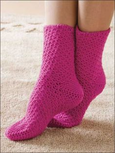 Pink Taffy Crocheted Socks - free pattern over at Free-Crochet.