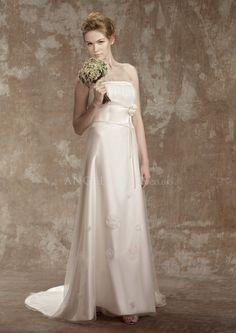 Tulle over Satin Floor Length Strapless With Flowers A line Classic Wedding Dresses