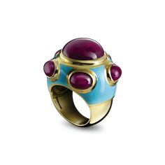 POPES RING-Solange Azagury-Partridge. Bombe ring with central cabochon Ruby surrounded by five cabochon Rubies and enamel in 18ct yellow gold   Also available in black Spinel