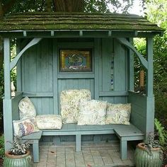 Just totally adore this. What a great spot to relax in...#gardeninsporation #gardenchalet #gardenseating