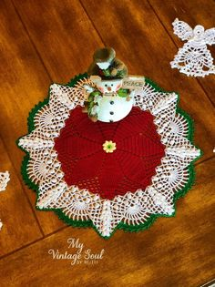 Crochet Doilies - Custom Crochet - Rugs - New Baskets by MyVintageSoulByRuth Lace Doilies, Crochet Doilies, Crochet Lace, Thread Crochet, Christmas Mood, Christmas Wedding, Christmas Poinsettia, Crochet Christmas, Rustic Christmas