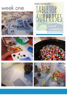 These open-ended play ideas that kids can do on their own time are so fun and creative! These tabletop surprises provide simple, learning fun for summer or school breaks! Keep kids busy and active! If it's a rainy day and they have to stay indoors, be prepared with some great indoor activities for kids! #teachmama #kidsactivities #indoorgames #indooractivities #kidsgames #handsonlearning #summer #summerfun #learningactivities