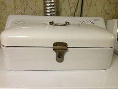 Vintage Estate Art Deco White Enamel Bread by TonysTreasureChest, $195.00