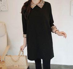 [Miamasvin] Flat Collar Sequined Dress