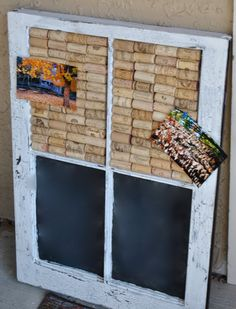 """""""Wine Cork and Chalkboard Window. $55.00, via Etsy.""""  I think I found a new project. Actually my husband will make this for me. :)"""