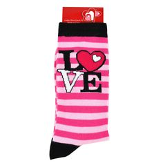 LOVE socks! Womens Socks | Feb. 14 Womens Love Stripe Crew Socks | Shopko.com