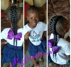 Hair Styles For Kids 60 Unbelievable cornrow styles for girls that'll make you ask 'But How'? Lil Girl Hairstyles, Natural Hairstyles For Kids, Kids Braided Hairstyles, My Hairstyle, Natural Hair Styles, Sweet Hairstyles, Little Girl Braids, Black Girl Braids, African Hairstyles