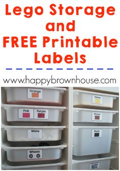 Use these free Printable Lego Storage Labels and organize your Legos. Plus, there's 100+ ways to learn with Lego bricks. Perfect for your lego builder.