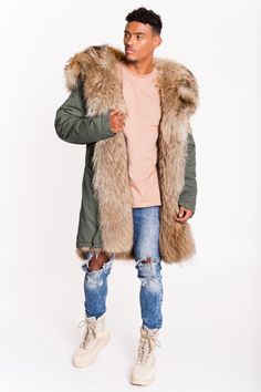 ARCTIC SUPER LUX PARKA MID LENGTH - GREEN / NATURAL - MEN'S