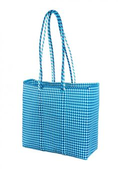 Etla Tote Navy White Turquoise Tweed
