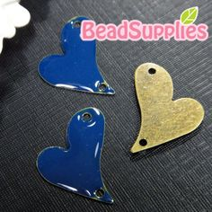 CH-EX-03006NB  Puffy Oblique Heart navy blue 6 pcs by Beadsupplies (Craft Supplies & Tools, Jewelry & Beading Supplies, Charms, supply, brass, beadsupplies, finding, beads, findings, tag, for cabochons, metal, oblique, heart, navy blue)