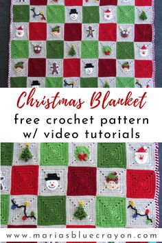 This fun Christmas crochet blanket would make a great holiday gift or to throw on your couch year after year for the holidays. The free patterns come with video tutorials for easy crocheting! #crochetblanket #crochetchristmas Granny Square Blanket, Granny Square Crochet Pattern, Crochet Afghans, Granny Squares, Crochet Motif, Crochet Designs, Free Crochet, Christmas Crochet Blanket, Christmas Afghan