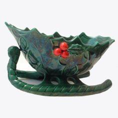 Vintage Lefton Christmas Sleigh Ceramic Holly Berry Design | AestheticsAndOldLace - Seasonal on ArtFire