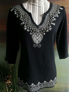 MKM DESIGNS BLACK WHITE FAUX EMBROIDERY BOHO TOP BLOUSE TEE SHIRT STRETCH 1X  #MKM #Blouse #Casual