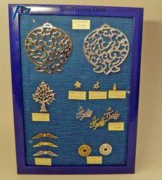 Μεταλλικά, επάργυρα ή με ορειχάλκωση στοιχεία με ευχές κατάλληλα για χριστουγεννιάτικες κατασκευές και γούρια. Metal silverplated charms made in Greece.