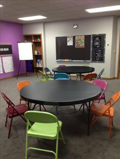 5th & 6th grade Sunday School Classroom 6th day of creation.  Animal kingdom and mankind... Unique you!  ... Painted folding chairs & black contact papered tables make it pop!